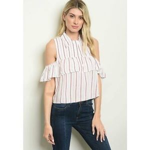 Cold Shoulder Striped Ruffle Top-Size S